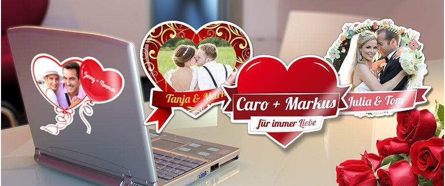Individuelle Aufkleber für Liebes- und Hochzeitspaare