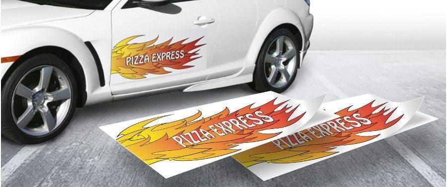 Autoaufkleber mit eigenem Motiv und Wunschtext