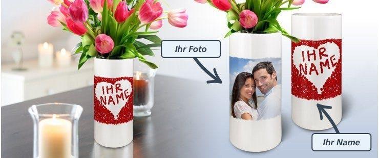 Keramik-Blumenvase mit eigenem Foto