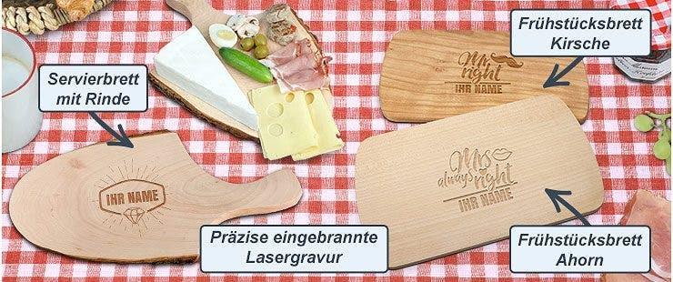 Rustikale Alternative: Holz-Brettchen mit Gravur