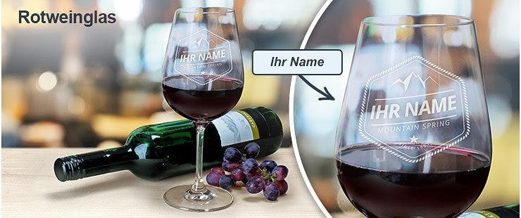 Personalisiertes Rotweinglas mit Namen