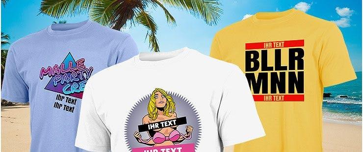 Mallorca T Shirt Sprüche mit Name und Wunschtext bedrucken