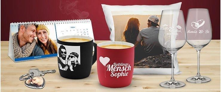 Valentinsgeschenke mit Foto und Namen