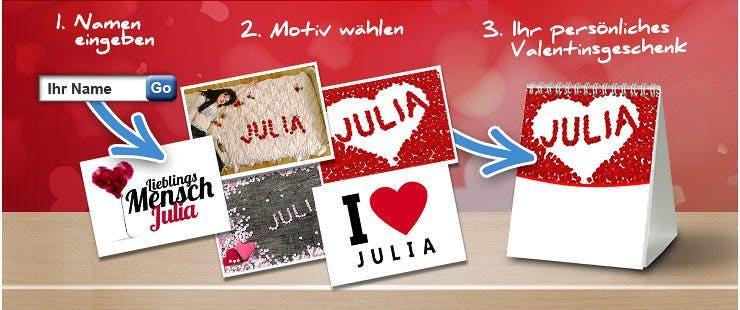 Liebevolle Botschaften mit Wunsch-Namen