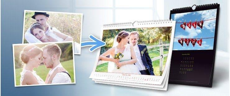 Foto-Wandkalender mit Spiralbindung, Aufhänger und Deckblattfolie
