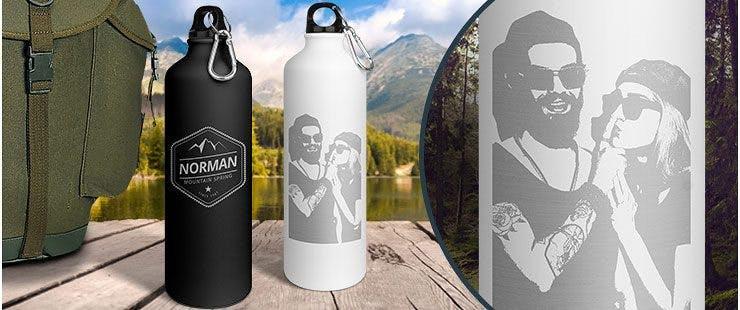 Campingartikel - Hochwertige Trinkflaschen gravieren