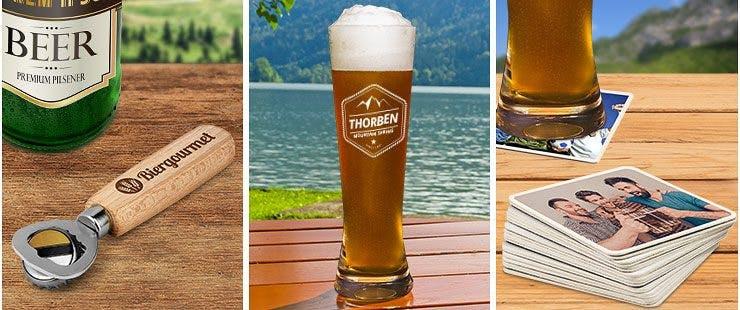 Flaschenöffner, Weizenglas und Bierdeckel als Geschenke für Camper