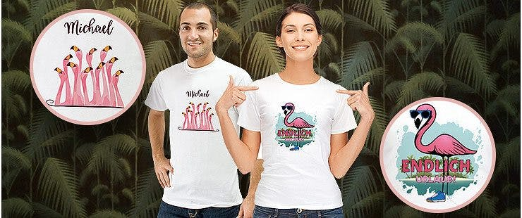 T-Shirts mit Flamingo-Designs