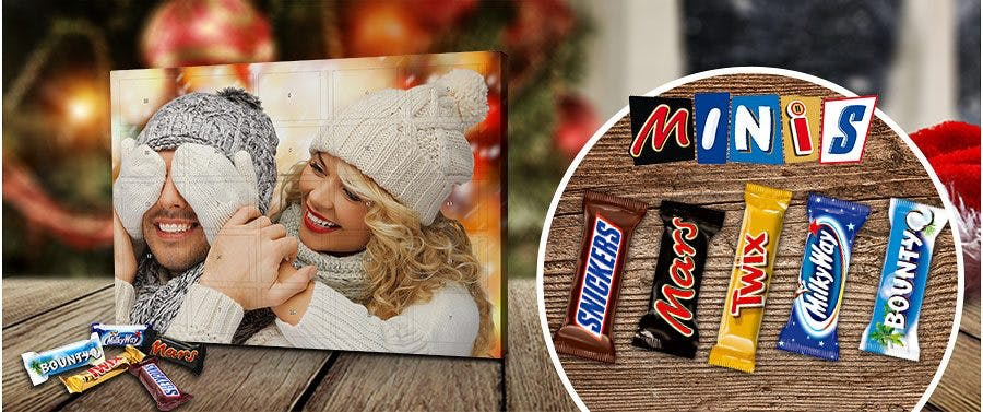 Foto-Adventskalender mit Mixed Minis Schokolade