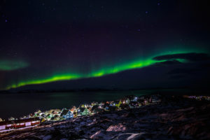 Greenlanic Northern lights nearby Nuuk