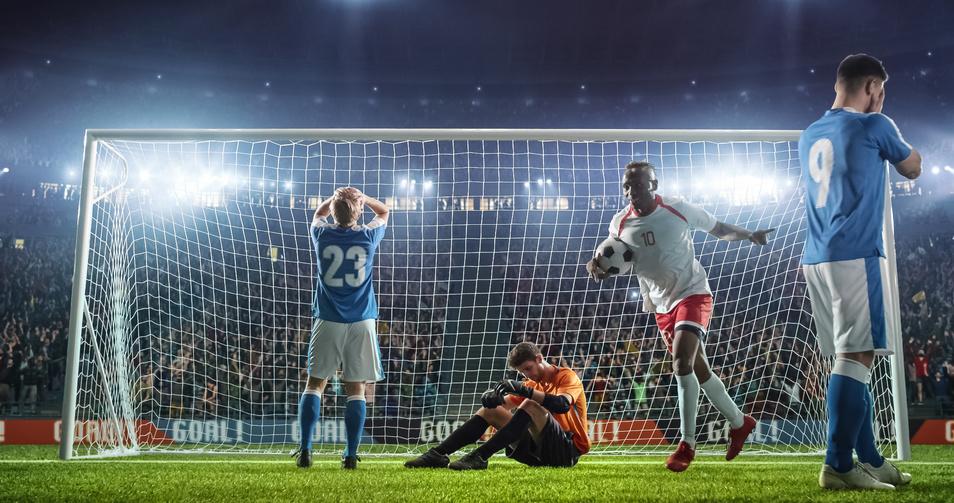 Fußball-Moment Sieg/Niederlage