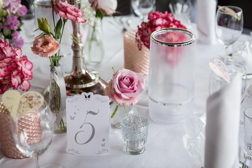 Tischdeko bei Hochzeit